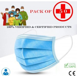 3 ply, ultrasonic with Nose pen Disposable Surgical Face Mask - (Pack of 50 )