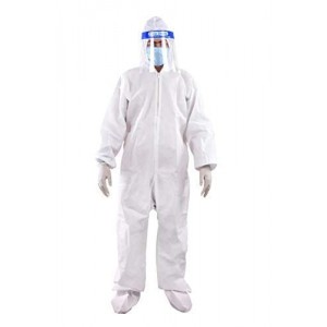 PPE Safety Kit for Full Body Protection- Non-Suffocating+Comfortable for Travelling- 80 GSM- Polyproplyene Material, Free Size for Men & Women
