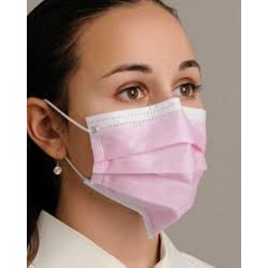 Ultrasonic  3-Ply Ear Loop Surgical Face Mask - Pink Color  (Pack of 100 Pcs)