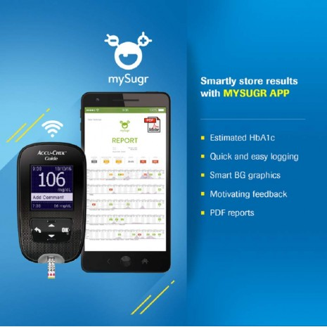 Accu-Chek Guide Glucometer Kit with Free 10 Strips (Smart Glucometer Connect with Mobile )