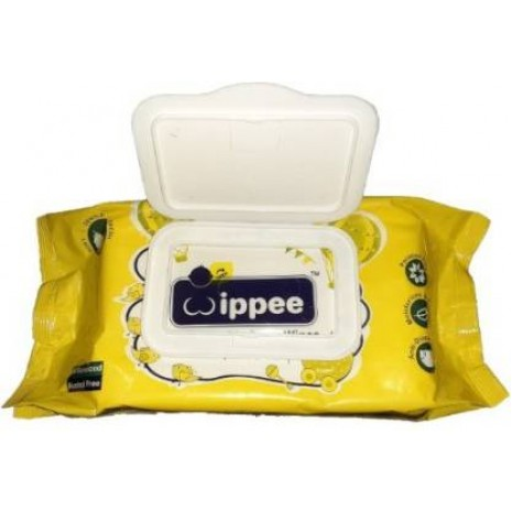 Wippee Baby Wipes With moisture Lock Cap, Contain Aleo vera - L  (80 Pieces)