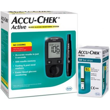 Accu-Chek Active Blood Glucose Monitor with 10 Test Strips 1 Unit