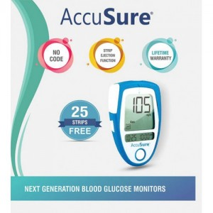 Accusure Blue Glucometer Kit with Free 25 Test Strips