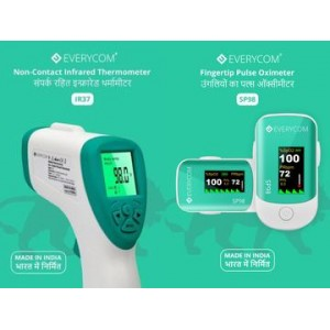 Everycom IR37 Infrared Thermometer + SP98 Finger Pulse Oximeter With 1 Year Replacement Warranty ( Made In India ) (Combo)