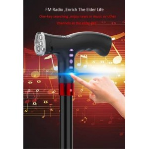 Smart Walking Stick With Fm Radio , Siren & Torch, Alarm, Rechargeable